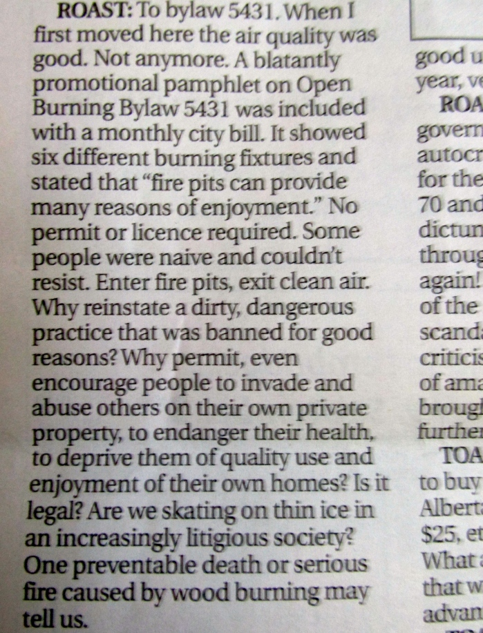 "A ""Roast"" by a Lethbridge resident, printed in the Monday, August 25 Lethbridge Herald - lethbridgeherald.com"
