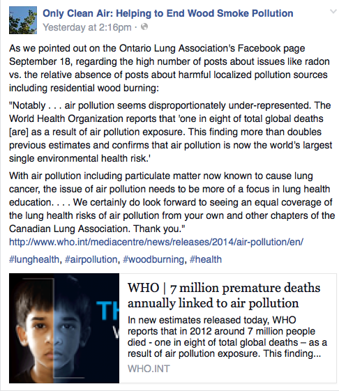 Image source - Only Clean Air:  Helping to End Wood Smoke Pollution | Facebook, September 2014