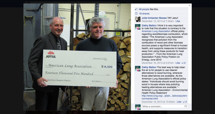 Would any Lung Association chapter accept any money at all from companies affiliated with the tobacco industry?  How is accepting any funds from the wood burning industry (including companies that manufacture devices which produce smoke harmful to lung health) not an equally serious conflict of interest?   Image source: Facebook | Jotul North America, December 2013