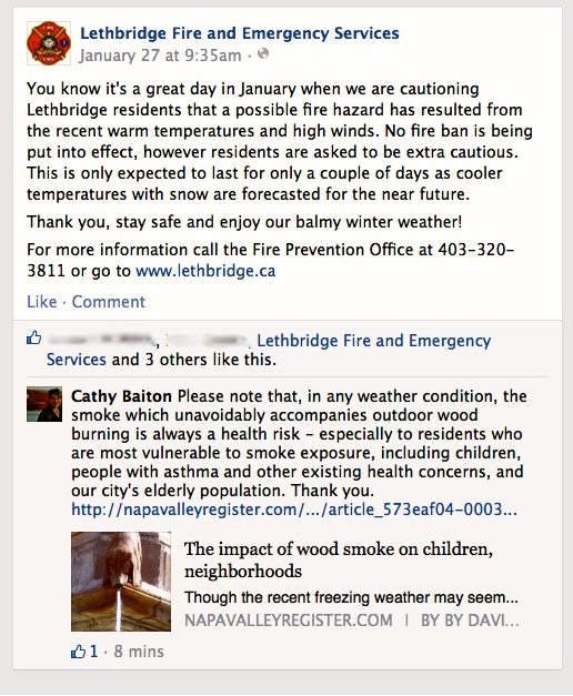 Image source: Facebook | City of Lethbridge Fire and Emergency Services; January 29, 2015.